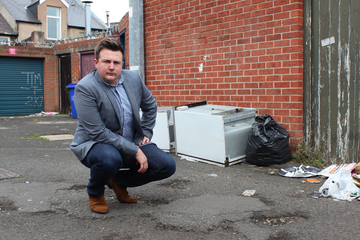 Lib Dem councillor Martin Haswell with dumped rubbish in Pallion ()