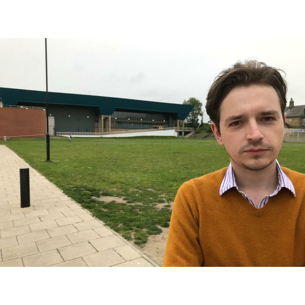 Lib Dem councillor Niall Hodson at the former Crowtree Leisure Centre site