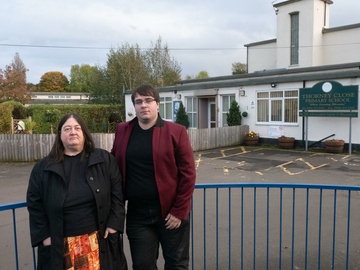 Councillor Margaret Crosby and Lib Dem campaigner Paul Edgeworth outside Thorney Close Primary School