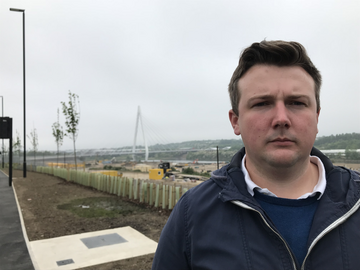 Lib Dem councillor for Pallion Martin Haswell in front of the Northern Spire bridge