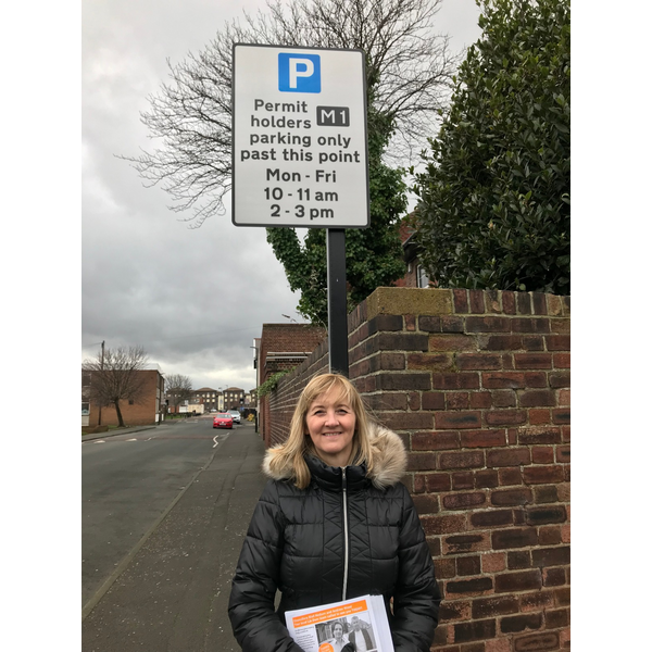 Councillor Julia Potts in the Hospital parking zone in Millfield
