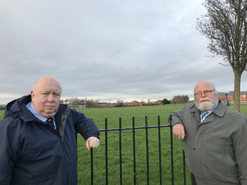 Lib Dem campaigners Colin Nicholson and George Smith at Blackie Park