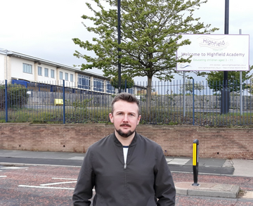 Councillor Martin Haswell at Highfield Academy, Ford Estate